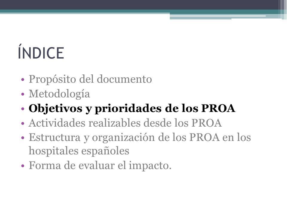 ÍNDICE Propósito del documento Metodología Objetivos y prioridades de los PROA Actividades realizables desde los PROA Estructura y organización de los
