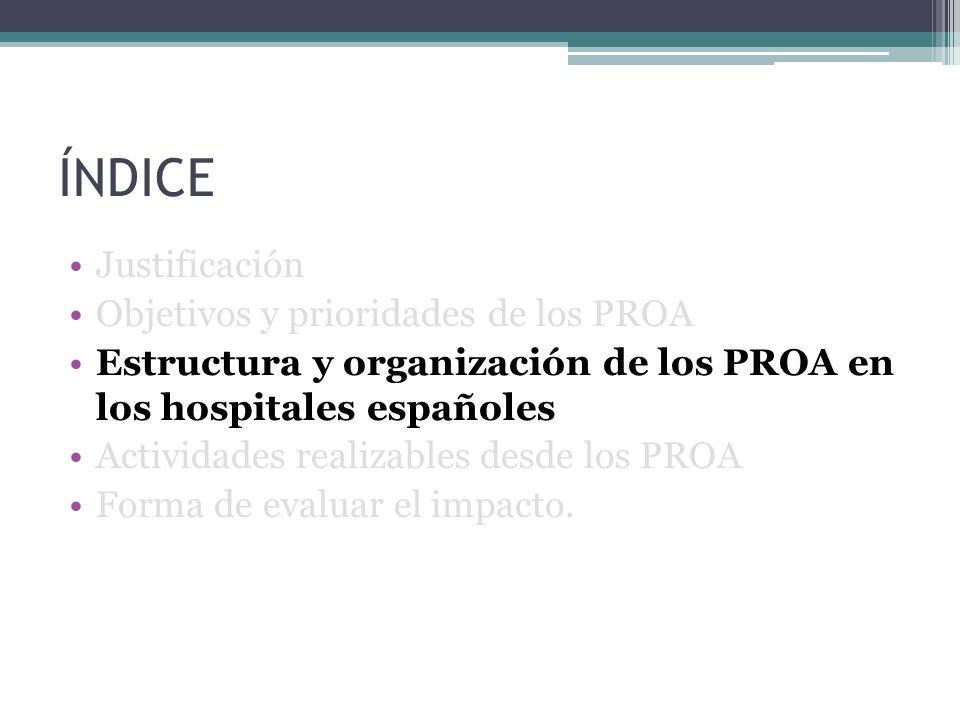 ÍNDICE Justificación Objetivos y prioridades de los PROA Estructura y organización de los PROA en los hospitales españoles Actividades realizables des