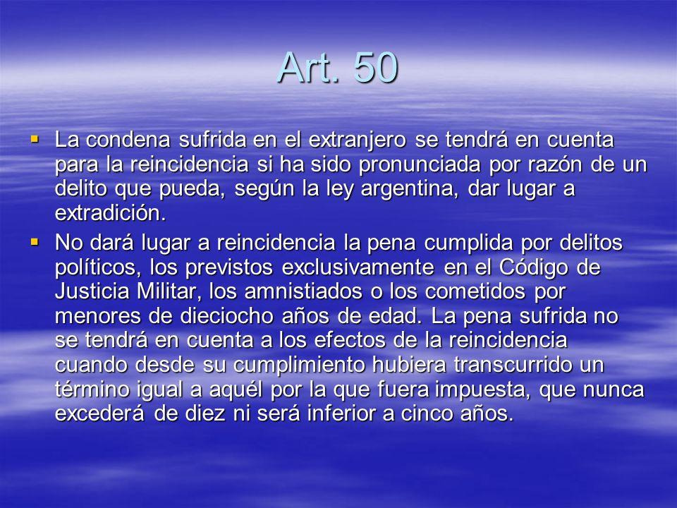 Art. 50 La condena sufrida en el extranjero se tendrá en cuenta para la reincidencia si ha sido pronunciada por razón de un delito que pueda, según la
