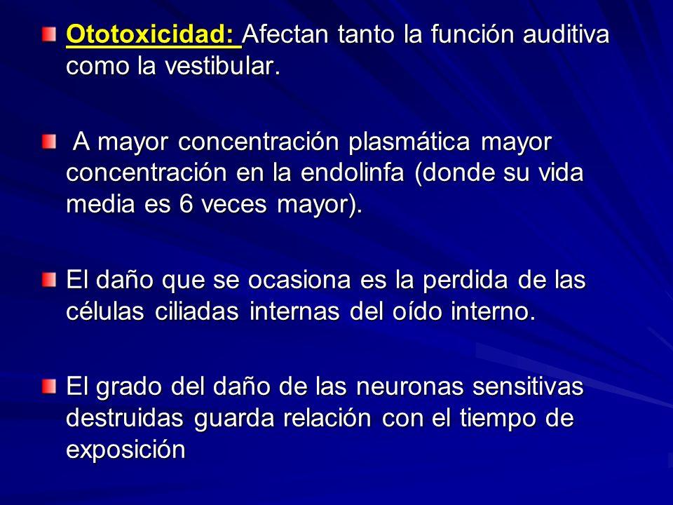 Ototoxicidad: Afectan tanto la función auditiva como la vestibular. A mayor concentración plasmática mayor concentración en la endolinfa (donde su vid
