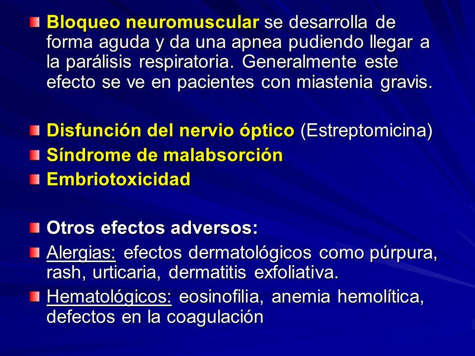 Bloqueo neuromuscular se desarrolla de forma aguda y da una apnea pudiendo llegar a la parálisis respiratoria. Generalmente este efecto se ve en pacie