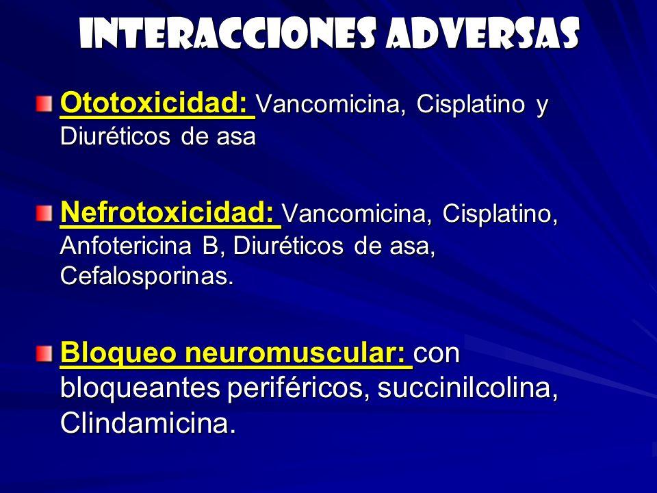 Interacciones adversas Ototoxicidad: Vancomicina, Cisplatino y Diuréticos de asa Nefrotoxicidad: Vancomicina, Cisplatino, Anfotericina B, Diuréticos d