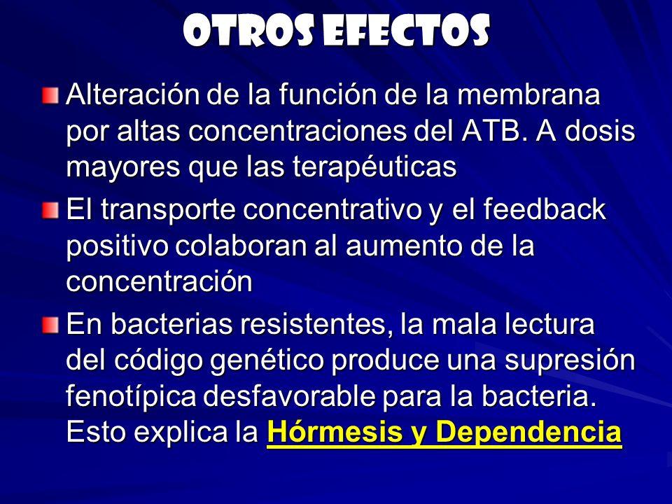 Otros efectos Alteración de la función de la membrana por altas concentraciones del ATB. A dosis mayores que las terapéuticas El transporte concentrat