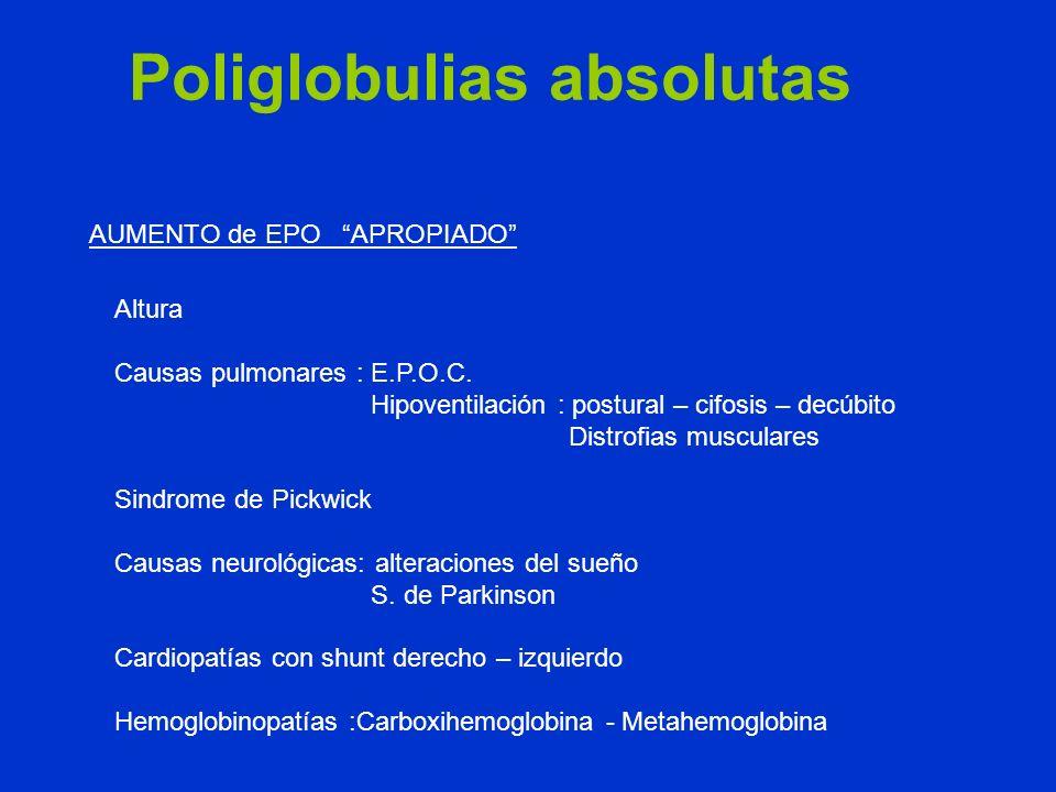 Altura Causas pulmonares : E.P.O.C. Hipoventilación : postural – cifosis – decúbito Distrofias musculares Sindrome de Pickwick Causas neurológicas: al