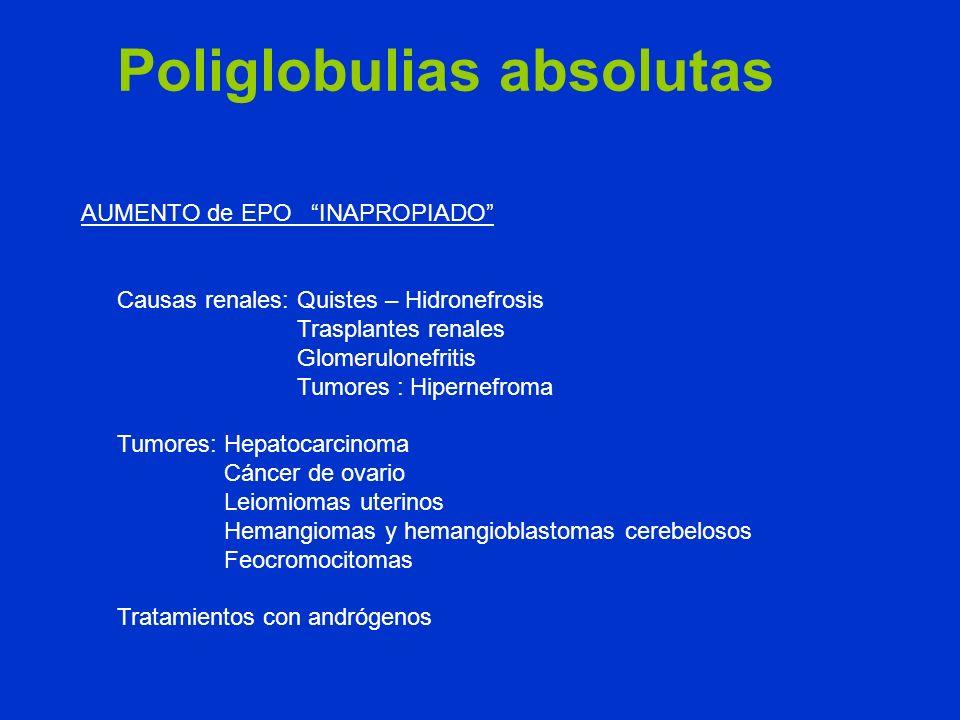 Causas renales: Quistes – Hidronefrosis Trasplantes renales Glomerulonefritis Tumores : Hipernefroma Tumores: Hepatocarcinoma Cáncer de ovario Leiomio