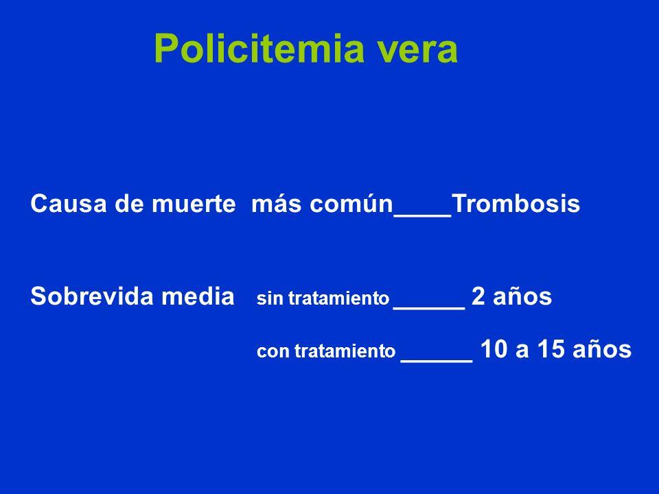 Policitemia vera Causa de muerte más común____Trombosis Sobrevida media sin tratamiento _____ 2 años con tratamiento _____ 10 a 15 años