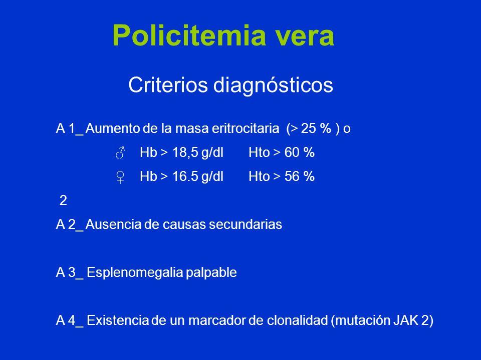 Policitemia vera Criterios diagnósticos A 1_ Aumento de la masa eritrocitaria (> 25 % ) o Hb > 18,5 g/dl Hto > 60 % Hb > 16.5 g/dl Hto > 56 % 2 A 2_ A