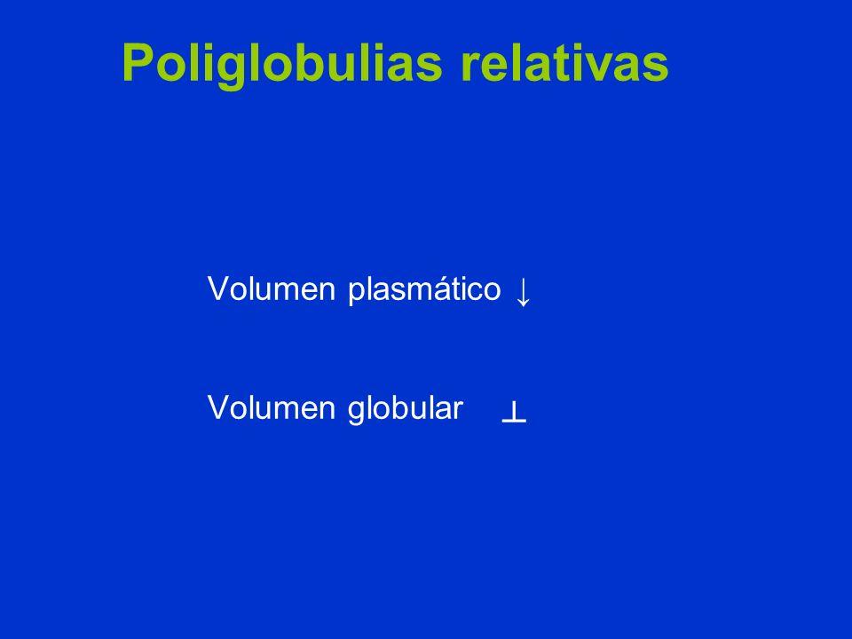 Volumen plasmático Volumen globular Poliglobulias relativas
