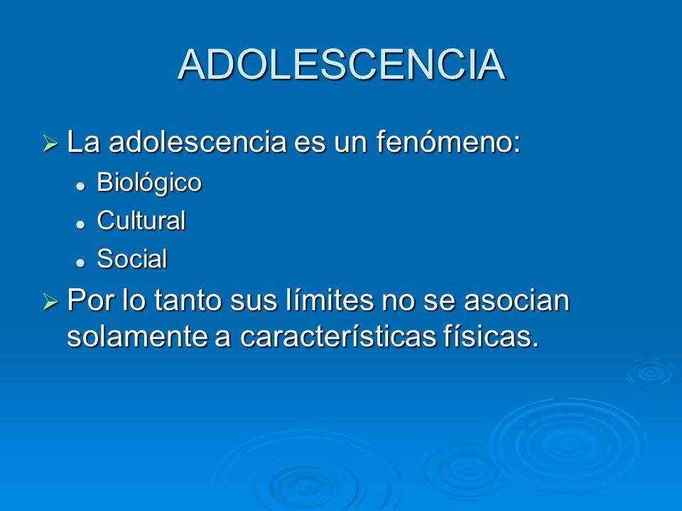 Características de la adolescencia actual La adolescencia es el período que se inicia en la pubertad (aproximadamente a los 12-13 años) y finaliza alrededor de los 21 años (en las mujeres se considera que finaliza antes).
