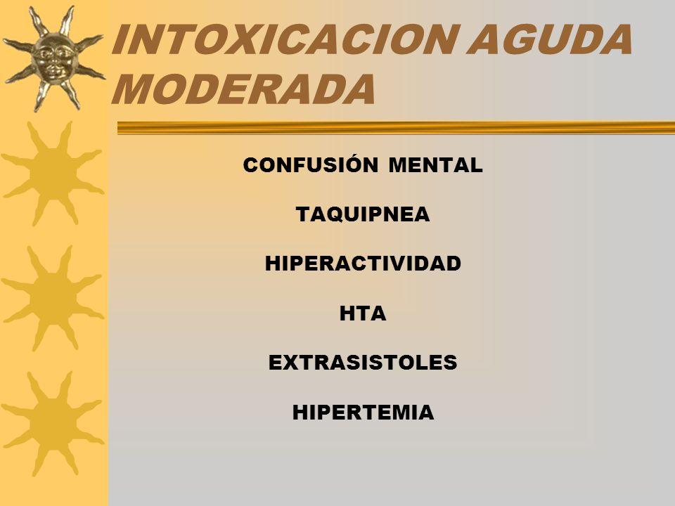 INTOXICACION AGUDA MODERADA CONFUSIÓN MENTAL TAQUIPNEA HIPERACTIVIDAD HTA EXTRASISTOLES HIPERTEMIA
