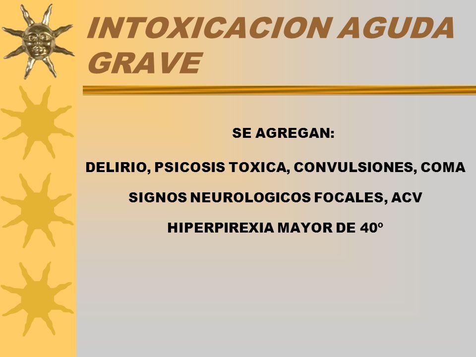 INTOXICACION AGUDA GRAVE SE AGREGAN: DELIRIO, PSICOSIS TOXICA, CONVULSIONES, COMA SIGNOS NEUROLOGICOS FOCALES, ACV HIPERPIREXIA MAYOR DE 40º