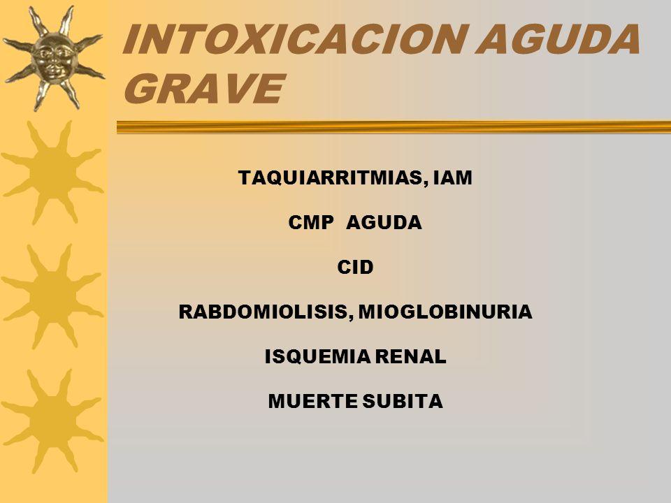 INTOXICACION AGUDA GRAVE TAQUIARRITMIAS, IAM CMP AGUDA CID RABDOMIOLISIS, MIOGLOBINURIA ISQUEMIA RENAL MUERTE SUBITA