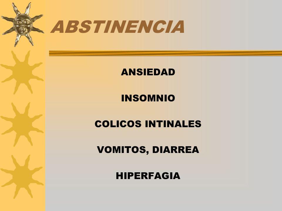 ABSTINENCIA ANSIEDAD INSOMNIO COLICOS INTINALES VOMITOS, DIARREA HIPERFAGIA