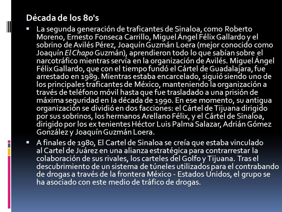 Década de los 90 s Cuando Héctor Luis Palma Salazar (también conocido como El Güero) fue detenido el 23 de junio de 1995, por elementos del Ejército Mexicano, su compañero Joaquín Guzmán Loera tomó el liderazgo del cártel.