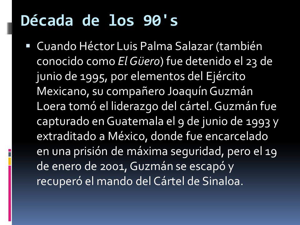 Inicio de siglo JERARQUÍA DEL CÁRTEL DE SINALOA A INICIOS DE 2010 (EN AMARILLO) A partir del año 2001, el cártel recuperó su influencia en el escenario criminal de México.