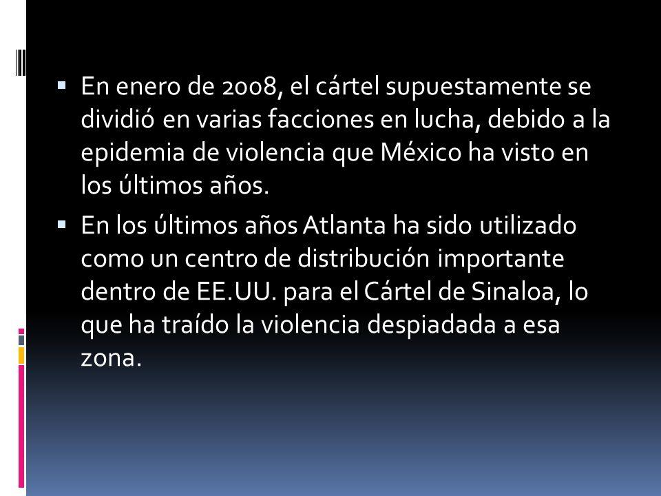 ARRESTOS Y DESARTICULACIONES El 11 de mayo 2008, Alfonso Gutiérrez Loera, primo de Joaquín El Chapo Guzmán y 5 traficantes de drogas fueron detenidos tras un tiroteo con la policía federal en culiacan, sinaloa.