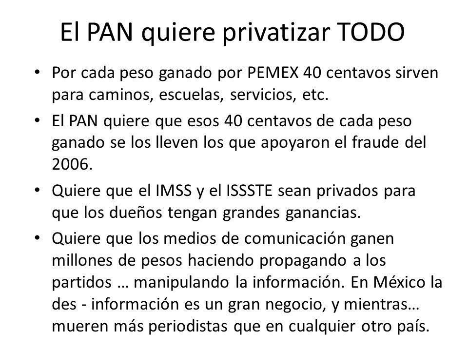El PAN quiere privatizar TODO Por cada peso ganado por PEMEX 40 centavos sirven para caminos, escuelas, servicios, etc. El PAN quiere que esos 40 cent