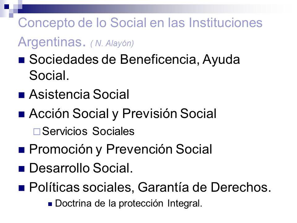 Concepto de lo Social en las Instituciones Argentinas. ( N. Alayón) Sociedades de Beneficencia, Ayuda Social. Asistencia Social Acción Social y Previs