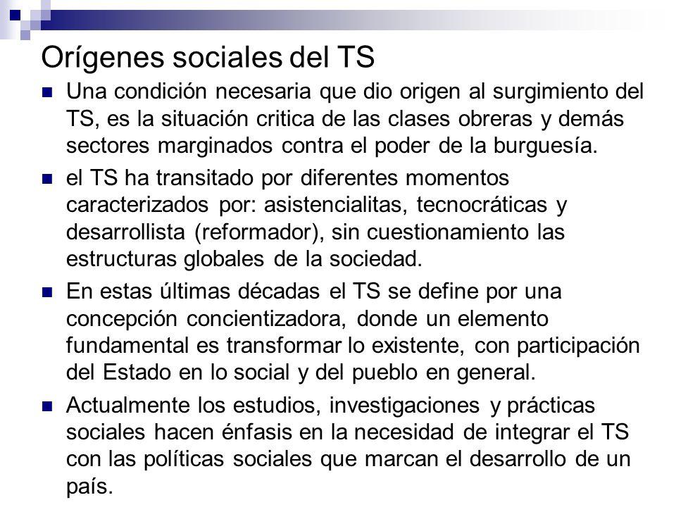 Orígenes sociales del TS Una condición necesaria que dio origen al surgimiento del TS, es la situación critica de las clases obreras y demás sectores