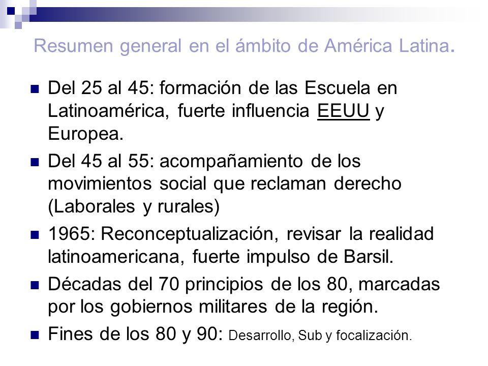 Resumen general en el ámbito de América Latina. Del 25 al 45: formación de las Escuela en Latinoamérica, fuerte influencia EEUU y Europea. Del 45 al 5