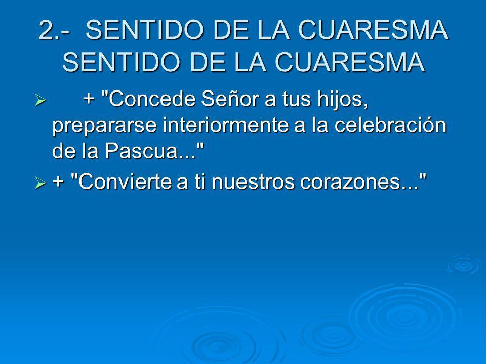 2.- SENTIDO DE LA CUARESMA SENTIDO DE LA CUARESMA +