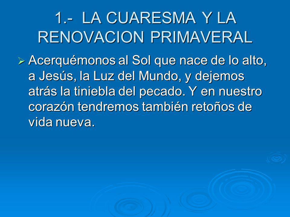 1.- LA CUARESMA Y LA RENOVACION PRIMAVERAL Acerquémonos al Sol que nace de lo alto, a Jesús, la Luz del Mundo, y dejemos atrás la tiniebla del pecado.