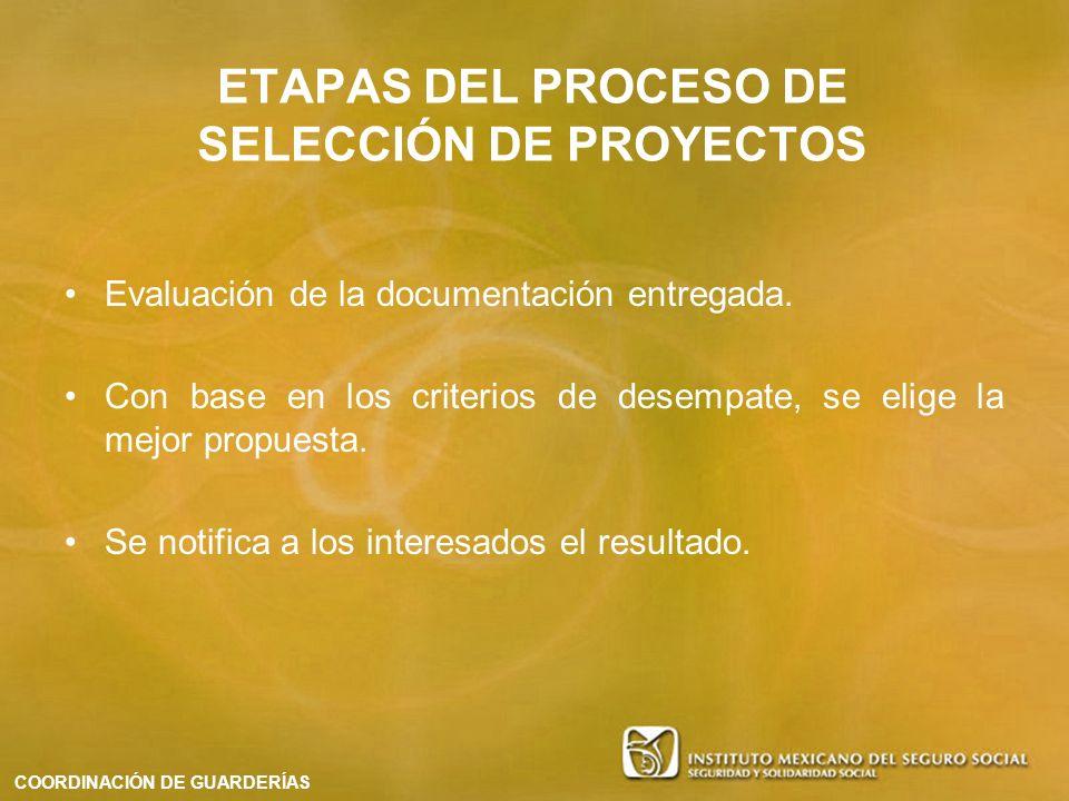 Evaluación de la documentación entregada. Con base en los criterios de desempate, se elige la mejor propuesta. Se notifica a los interesados el result
