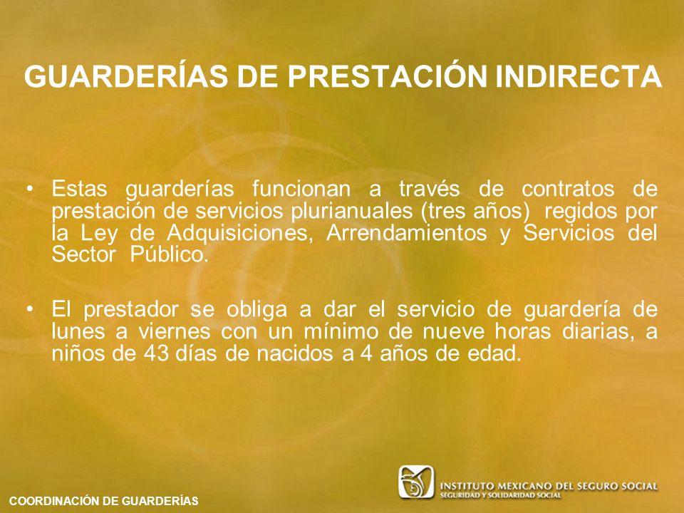GUARDERÍAS DE PRESTACIÓN INDIRECTA Estas guarderías funcionan a través de contratos de prestación de servicios plurianuales (tres años) regidos por la