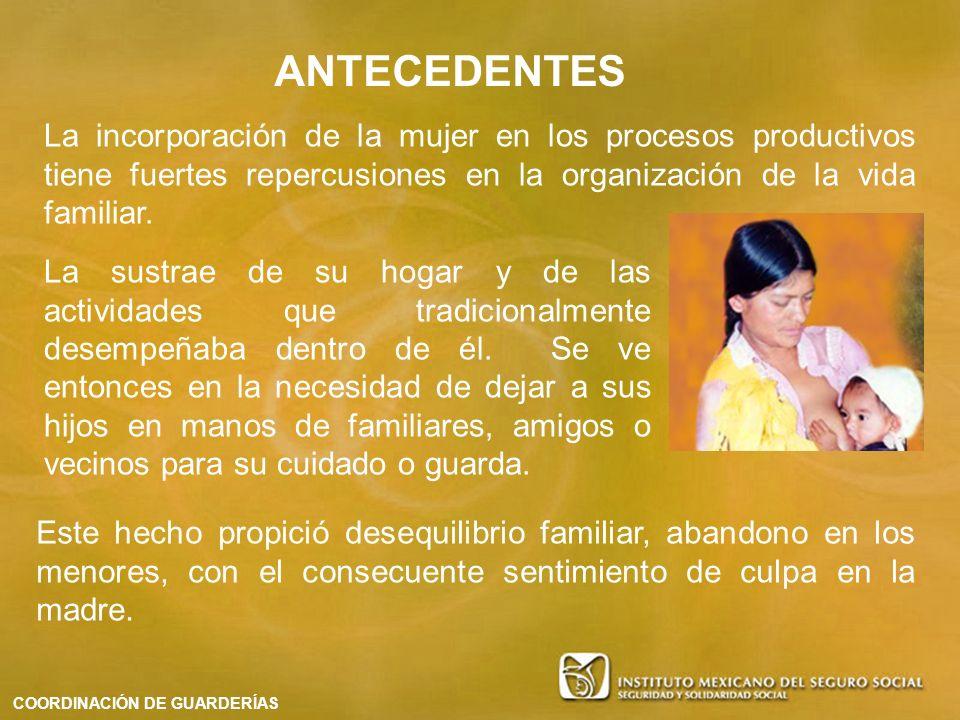 La incorporación de la mujer en los procesos productivos tiene fuertes repercusiones en la organización de la vida familiar. ANTECEDENTES COORDINACIÓN