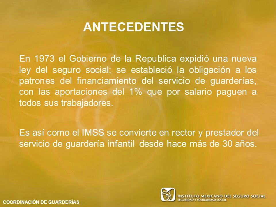 En 1973 el Gobierno de la Republica expidió una nueva ley del seguro social; se estableció la obligación a los patrones del financiamiento del servici