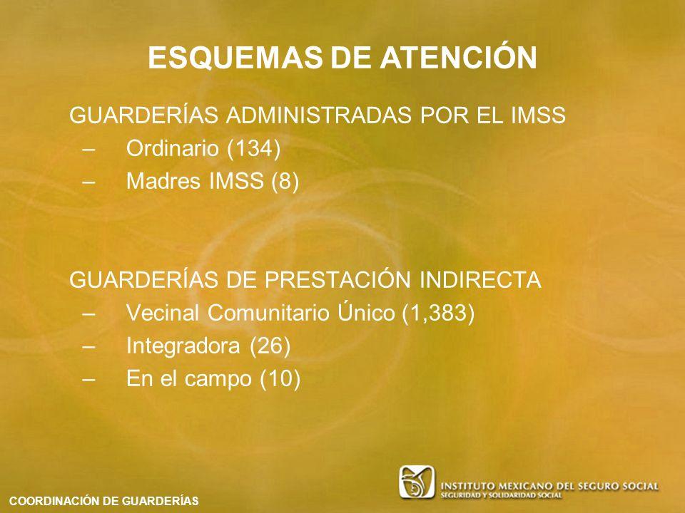 ESQUEMAS DE ATENCIÓN GUARDERÍAS ADMINISTRADAS POR EL IMSS –Ordinario (134) –Madres IMSS (8) GUARDERÍAS DE PRESTACIÓN INDIRECTA –Vecinal Comunitario Ún