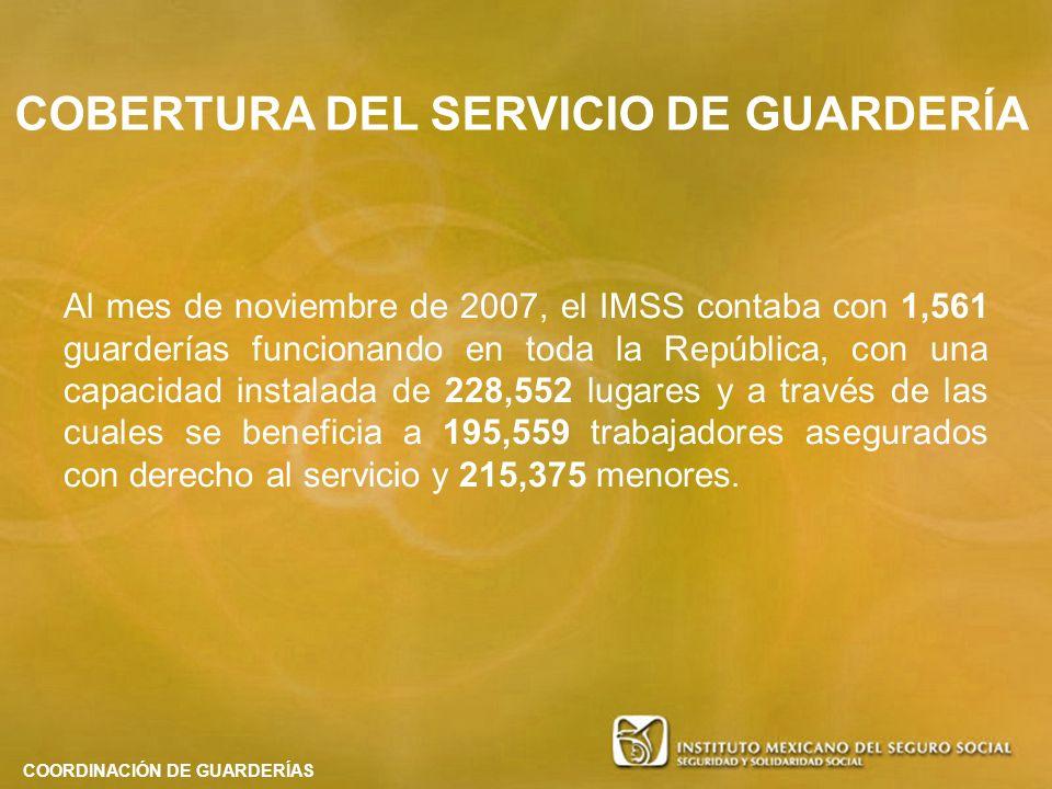 Al mes de noviembre de 2007, el IMSS contaba con 1,561 guarderías funcionando en toda la República, con una capacidad instalada de 228,552 lugares y a