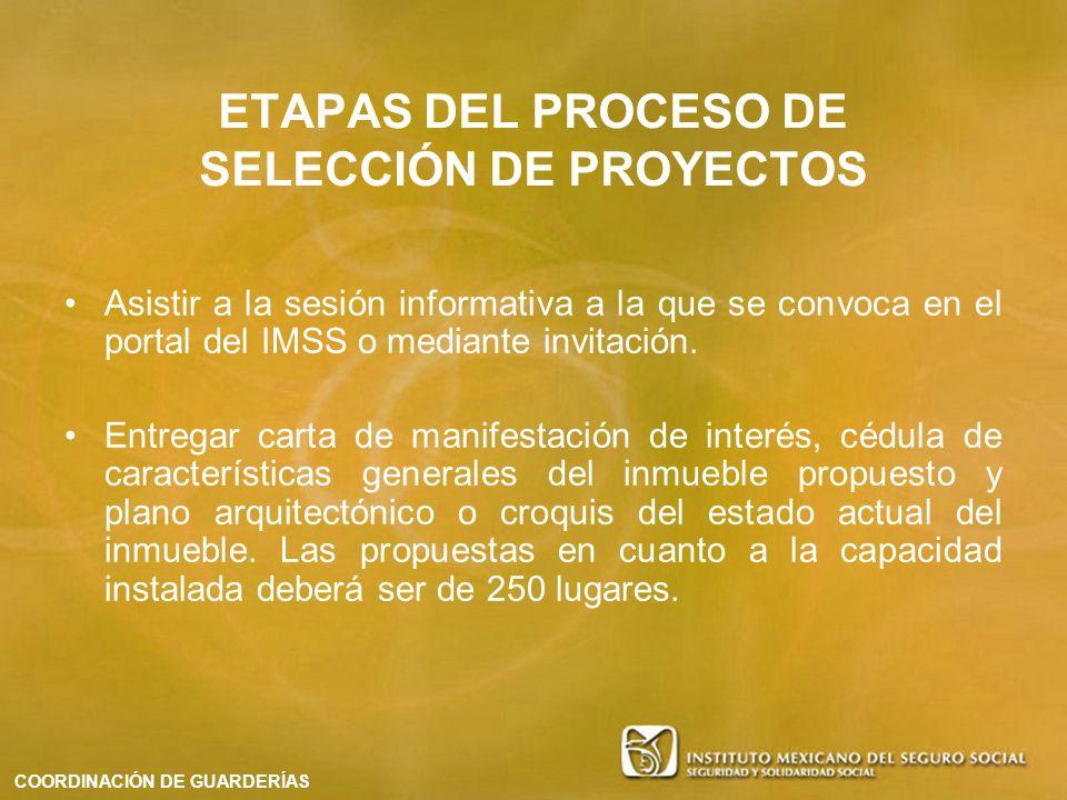 ETAPAS DEL PROCESO DE SELECCIÓN DE PROYECTOS Asistir a la sesión informativa a la que se convoca en el portal del IMSS o mediante invitación. Entregar
