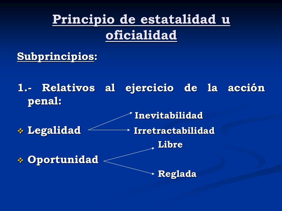 Principio de estatalidad u oficialidad Subprincipios: 1.- Relativos al ejercicio de la acción penal: Inevitabilidad Inevitabilidad Legalidad Irretract