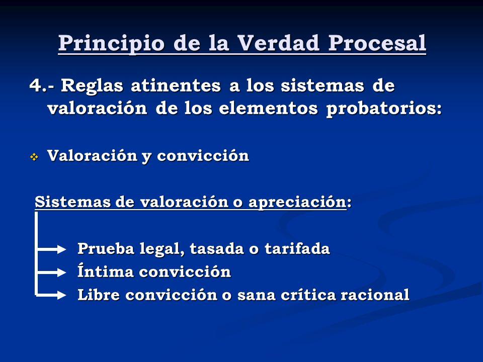 Principio de la Verdad Procesal 4.- Reglas atinentes a los sistemas de valoración de los elementos probatorios: Valoración y convicción Valoración y c
