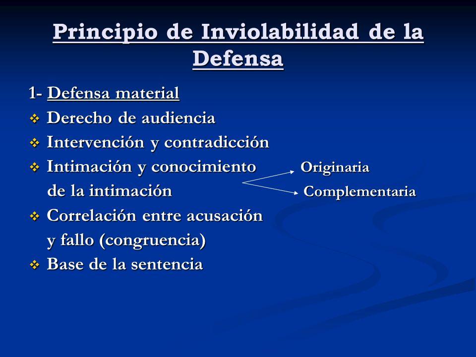 Principio de Inviolabilidad de la Defensa 1- Defensa material Derecho de audiencia Derecho de audiencia Intervención y contradicción Intervención y co