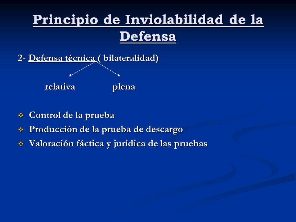 Principio de Inviolabilidad de la Defensa 2- Defensa técnica ( bilateralidad) relativa plena relativa plena Control de la prueba Control de la prueba