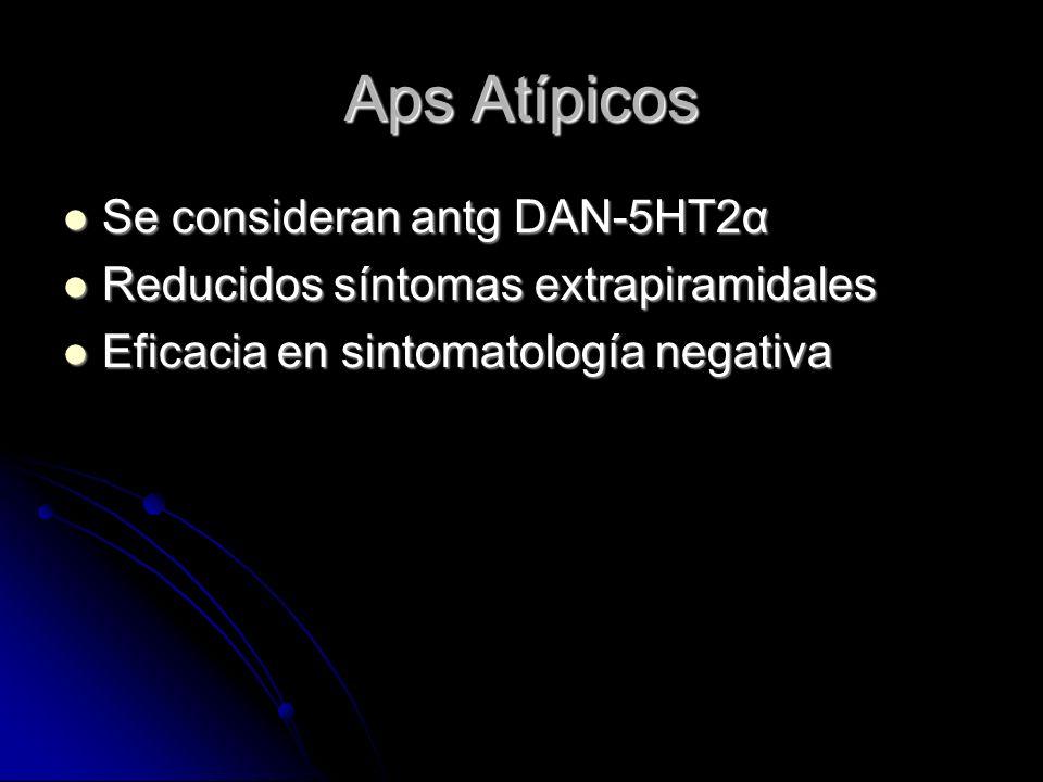 Aps Atípicos Se consideran antg DAN-5HT2α Se consideran antg DAN-5HT2α Reducidos síntomas extrapiramidales Reducidos síntomas extrapiramidales Eficacia en sintomatología negativa Eficacia en sintomatología negativa