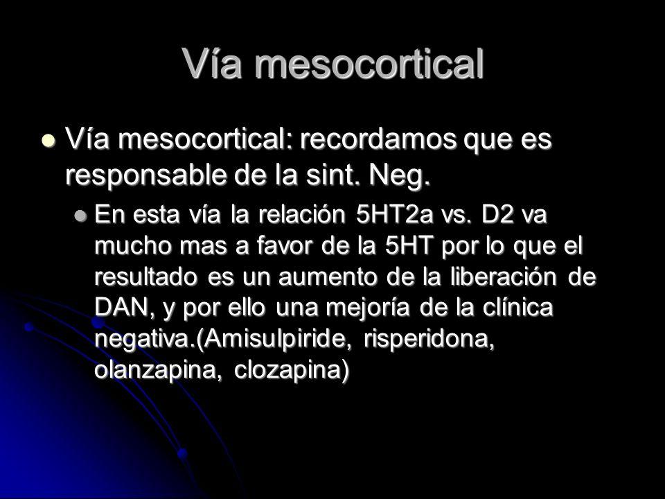 Vía mesocortical Vía mesocortical: recordamos que es responsable de la sint.