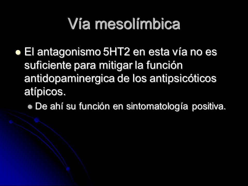Vía mesolímbica El antagonismo 5HT2 en esta vía no es suficiente para mitigar la función antidopaminergica de los antipsicóticos atípicos.