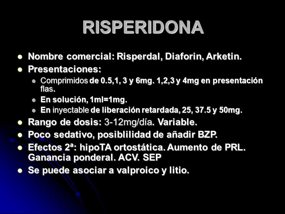 RISPERIDONA Nombre comercial: Risperdal, Diaforin, Arketin.