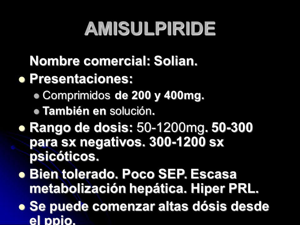 AMISULPIRIDE Nombre comercial: Solian. Presentaciones: Presentaciones: Comprimidos de 200 y 400mg.