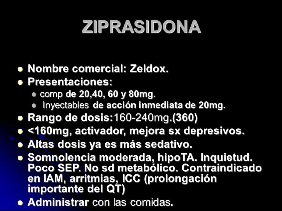 ZIPRASIDONA Nombre comercial: Zeldox. Nombre comercial: Zeldox.