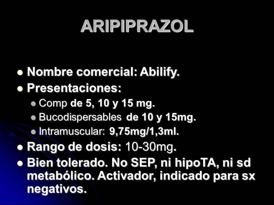 ARIPIPRAZOL Nombre comercial: Abilify. Nombre comercial: Abilify.