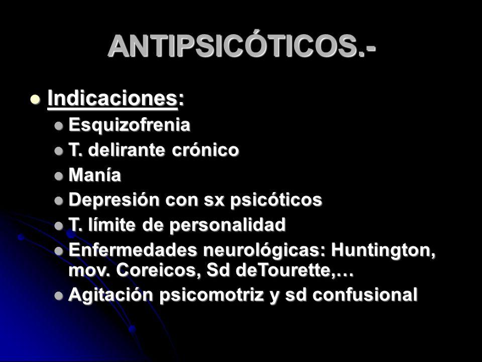 ANTIPSICÓTICOS.- Indicaciones: Indicaciones: Esquizofrenia Esquizofrenia T.