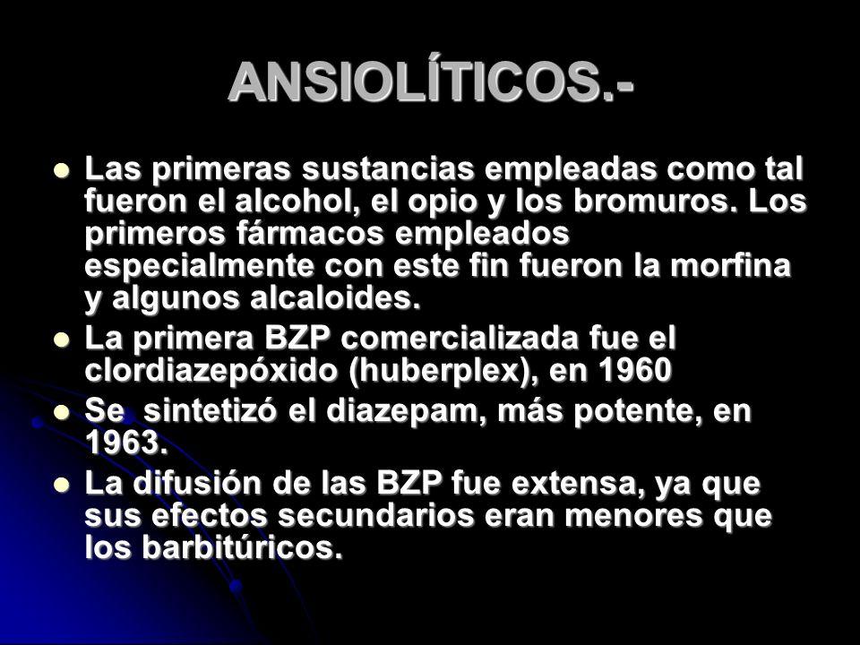 ANSIOLÍTICOS.- Las primeras sustancias empleadas como tal fueron el alcohol, el opio y los bromuros.
