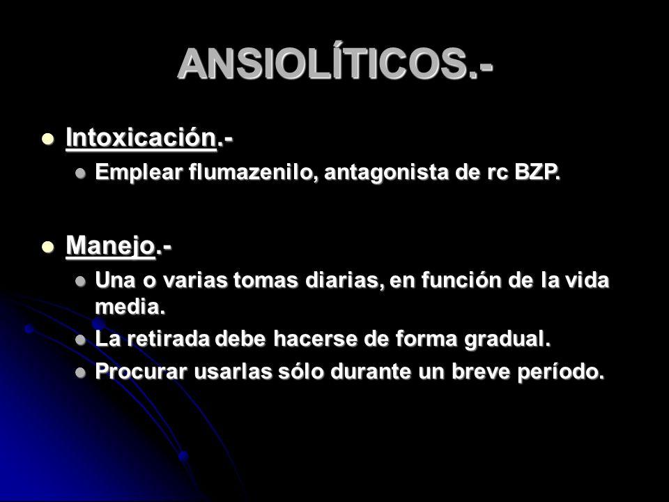 ANSIOLÍTICOS.- Intoxicación.- Intoxicación.- Emplear flumazenilo, antagonista de rc BZP.