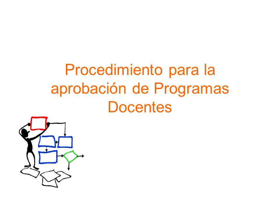 Procedimiento para la aprobación de Programas Docentes