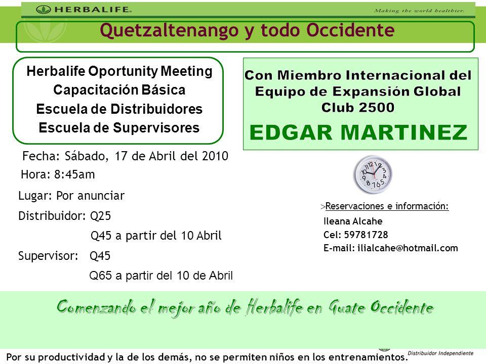 Ileana Alcahe Cel: 59781728 E-mail: ilialcahe@hotmail.com Quetzaltenango y todo Occidente Lugar: Por anunciar Distribuidor: Q25 Q45 a partir del 10 Ab