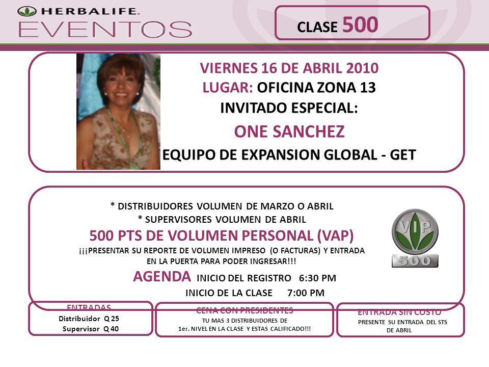 VIERNES 16 DE ABRIL 2010 LUGAR: OFICINA ZONA 13 INVITADO ESPECIAL: ONE SANCHEZ EQUIPO DE EXPANSION GLOBAL - GET CENA CON PRESIDENTES TU MAS 3 DISTRIBU